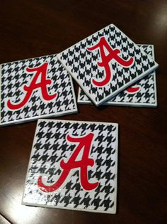 Alabama Houndstooth Coasters by overthemoongifts on Etsy