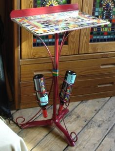 Mosaic topped table made from music stand for a Symphony fundraiser. Fun or what? colorfulgirl.com