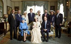 Official Christening Portrait.  Complete with the Queen's handbag!