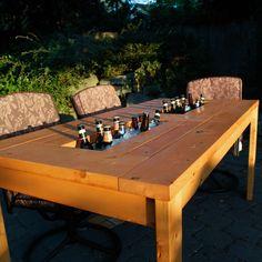 Gartentisch selber bauen Bar Getränke