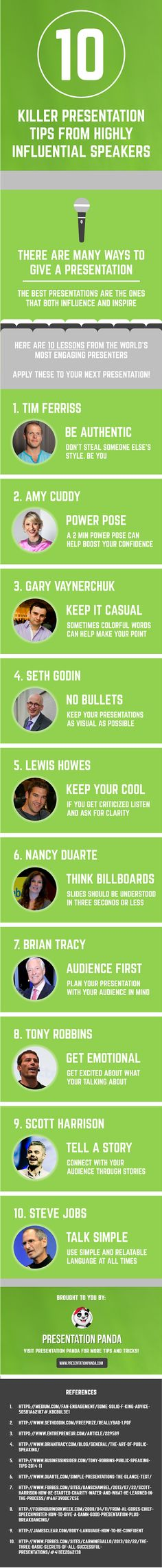 10 Killer Presentation Tips From Highly Influential Speakers #Infographic #PublicSpeaking #Presentation
