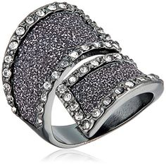 Guess Glitter and Stone Bypass Wrap Hematite Ring Size 7   Check out the  image by b5b8015d7