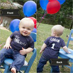 I love making personalized birthday shirts!! Trent's mama sent us this photo from his birthday photo shoot!