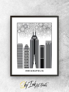 Handmade Indianapolis Indiana Skyline Art Poster Print Home Decor Gift. For more Modern Typography Skyline Designs featuring cities from across the world, please feel free to visit my Etsy shop at skyink.etsy.com