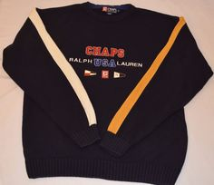 79bba76d Details about Chaps Ralph Lauren USA 78 Hand Framed VTG 90s Color Block  Crew Neck Sweater Sz M