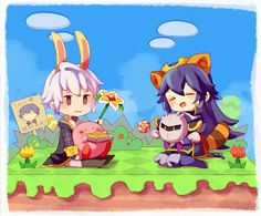 Robin & Lucina. I love how kirby is eating robin's book and meta Knignt has a lollipop