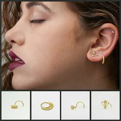 Handmade 14k gold nose stud and earings.