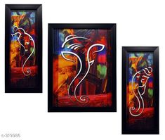 Paintings & Posters Beautiful 3 Piece Set Of Ganesha Paintings  *Material* Wood & Plastic 
