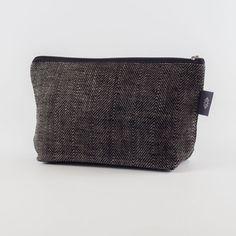 Medium Black Linen Canvas Makeup Bag, Travel Bag, Natural Canvas Travel Bag, Makeup Case, Cosmetics Bag, Toiletry Bag, Travel Kit, Box Bag