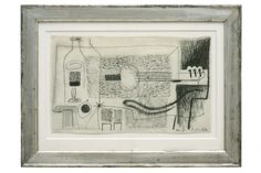 Abstract charcoal still life with bottle and banjo on paper by Michel Debieve (1931 - ) France, 1966