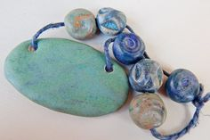 "Set porcelainand stoneware "" Green and blue "" Design by Mª Carmen Rodriguez https://www.facebook.com/groups/CeramicArtBeadMarket/"