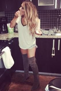 Jessie James Decker wearing Frye Sacha Over the Knee Boots and We the Free Ring Leader Tee in Ivory Combo
