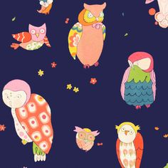 Fabric... Spotted Owl in Navy by Alexander Henry Fabrics