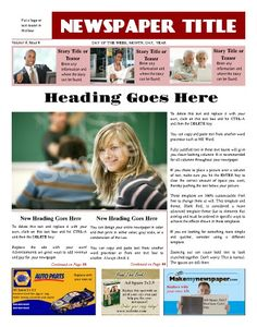 AllPurpose Front Page Template Try This X Newspaper