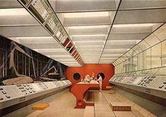 Retro futurismo - Armstrong ad. Anuncio de sistema de techo Armstrong C-60 luminaria, 1966.