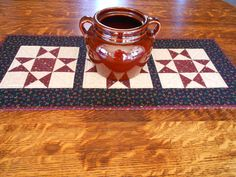 Country Colors Quilted Table Runner/ Scrap Ohio Star Pattern Burgundy, Black,and Beige by RubysQuiltShop on Etsy