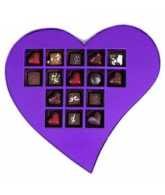Forget those ordinary drug store boxes of chocolate. This giant heart-shaped present is filled with handmade, beautifully-decorated truffles. Flavors include caramel, dark cacao nib ganache, smooth dark chocolate, and black raspberry.