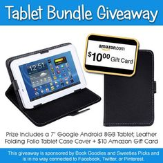 "Head on over to Sweeties Picks a chance to win a 7"" Google tablet with case and $10 Amazon gift card.  http://www.sweetiespicks.com/book-goodies-sweeties-picks-tablet-giveaway/"