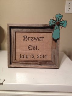 Wedding est date picture frame with cross