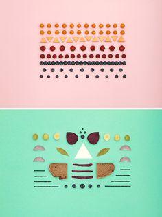 Designers Dennis Adelmann and Carolin Wanitzek styled these beautiful graphic arrangements for New York startup Food Throttle