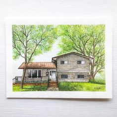 Cabin, House Styles, Watercolor, Instagram, Home Decor, Art, Pen And Wash, Art Background, Watercolor Painting