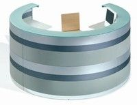 Twist Reception desks certainly are a lot of fun. Here we                  have selected 'Move one' which has six continuous                  lacquered horizontal bands, which can be selected in a single                  colour, or up to six different colours