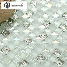 TST Crystal Glass Mosaic Tile Aqua White Iridescent Silver Diamond Waterdrops Inner Crackle Design http://www.tstmosaictiles.com/TST-Crystal-Glass-Mosaic-Tile-Aqua-Iridescent-Silver-Waterdrops-Inner-Crackle-Design