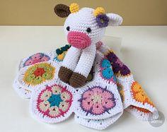 Happy Cow Lovey Pattern   Security Blanket   Crochet Lovey   Cow Lovey Toy   Blanket Toy   Lovey Blanket   Snuggle PDF Crochet Pattern