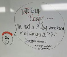 Talk it up Tuesday Journal Topics, Journal Prompts, Morning Activities, Writing Activities, Morning Board, Daily Writing Prompts, Bell Work, Responsive Classroom, Classroom Board
