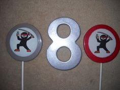 1 chocolate karate martial arts ninja edibledecal 3 lollipops lollipop | sapphirechocolates - Edibles on ArtFire