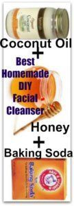 "Best Homemade DIY Facial Cleanser Ingredients: 2 tbsp. Organic Coconut Oil 2 tsp. Honey 1 tsp. Baking Soda Lavender or Vanilla Essential Oils More: ""If you want the softest, clearest skin, use these together! 2tbsp baking soda, 1/2 tsp coconut oil and enough water to make a paste is enough for your neck and face. Scrub for 3 min then rinse with cold water! Immediately saw a difference. Smaller pores and glowing skin! And the coconut oil moisturizes your skin for you!"""