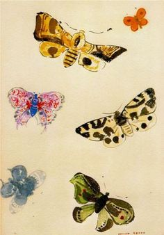 Odilon Redon, French painter and pastelist (1840-1916).  'Butterflies' Watercolor