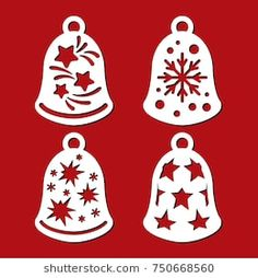 toy background Set of Christmas bells with stars and snowflakes. Template for wood carving. Laser cut vector silhouette on red background. Openwork toy with a lace ornament. New Years decorations and icons. Classy Christmas, Christmas Wood, Christmas Bells, Christmas Baubles, Christmas Angels, Christmas Crafts, Homemade Christmas Decorations, New Years Decorations, Crochet Angels