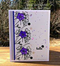 Hello Card using the new stamp set, Grace's Little Note from Kennedy Grace Creations and Leather & Pink Lace sequins. Sheena Joy 2016 - Joy's Studio http://joys-studio.blogspot.ca