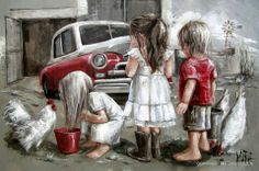 Ou Motor by Maria Magdalena Oosthuizen Cool Paintings, Beautiful Paintings, Acrylic Paintings, Painting For Kids, Art For Kids, Image Foto, South African Artists, Christen, Belle Photo