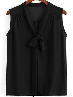 Znalezione obrazy dla zapytania black chiffon tie neck blouse no sleeves