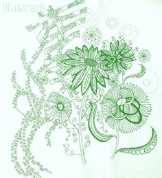 Green Flowers Print From Original Drawing by Illustrarti on Etsy, $20.00