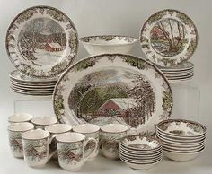 "Johnson Brothers The Friendly Village (""England Backstamp) 42 Piece Set Johnson Brothers China, Johnson Bros, Friendly Village Dishes, Vintage Dishes, Porcelain Ceramics, Anniversary Gifts, Dinnerware, Tea Party, Decorative Plates"