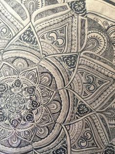 Black Mandala  Original Ink Drawing Framed by yourhomemadezen