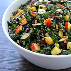 Tuscan Kale & Apple Salad with dried cranberries, sunflower seeds, almonds and shaved Piave