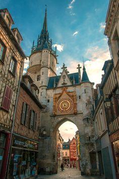Clocktower, Bourgogne, Auxerre,between Paris and Dijon, France.