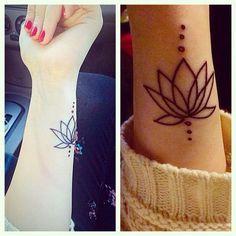 Lotus Flower Outline Wrist Tattoo.