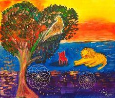 作品名:「DivineGeometry WA006」 画家名:「カノウユリコ」 コメント:「夢で出てきた画像です。  あとで分かったことですが、 ライオンがエジプトのスフィンクス 鷲、鷹、ハヤブサなどの鳥モチーフがエジプトの神ホルス、 赤い椅子は勝利の赤い色。  鷲は遠くを見ています。物事を狭く見て 悩むのではなく、視野を広げよと教えてくれました。スフィンクスの地下のように宝、知恵、豊かさがあるのだともとらえられます。 ☆ガラスなし油絵用額縁はただいまサービスで  お付けいたします☆」 ART-Meter