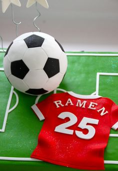 Celebrate with Cake!: Soccer Cake - this would be cute for Noah! Soccer Birthday Cakes, Soccer Party, Soccer Cakes, Football Cakes, 2nd Birthday, Fondant Cakes, Cupcake Cakes, Sports Themed Cakes, Pear And Almond Cake