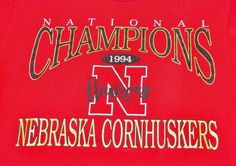 Vintage Nebraska Cornhuskers 1994 -95 National Champions Men's M T-Shirt #Jerzees #NebraskaCornhuskers