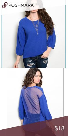 Royal woven top with rounded neck Very pretty royal blue top with a woven knit, 3/4 sleeves, rounded neckline, and peek-a-boo back. Layer with a grey or black tank to change the look!  100% cotton. Smoke free home, fast shipping, and bundle for discount. Sizes s/m and m/l but fits best as small and medium for that oversized fit. HYPR Tops