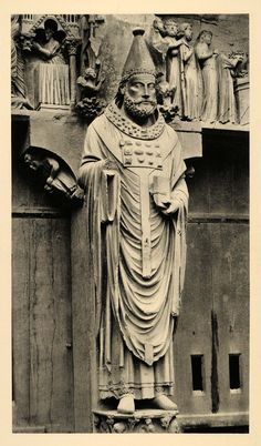 1937 Reims Cathedral Pope Sixtus I Sculpture Gothic Art - ORIGINAL CH2