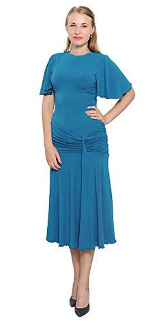 Marycrafts Womens Drop Waist Midi Dress Flapper Vintage Retro 1920s 16 Teal. Materials: high quality medium weight stretchy 92% Viscose/8% Spandex fabric. Regular fit, short butterfly sleeves, round neck, drop decoration waist, pleated fish tail skirt, midi length. Machine washable (gentle mode, cold water). Please choose your correct size according to our size chart in the product description section below.This product is produced by Marycrafts and sold solely by us. Please buy from...