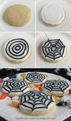 Halloween Cookies How to make a spider web pattern in icing hazelfishercreations