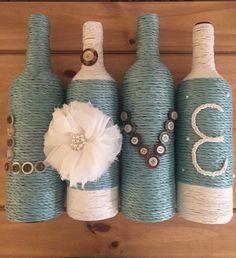 Botellas de vino decoradas Shabby chic por Shimmerysparkle en Etsy